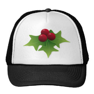 Holly Leaf with Berries Mesh Hats