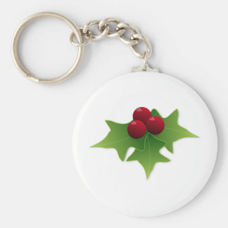 Holly Leaf with Berries Keychain