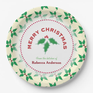 Holly Leave, From the Kitchen of, Christmas Baking Paper Plate