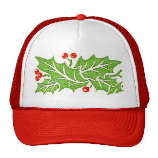 Holly Leaves and Berries Christmas Hat