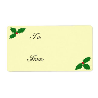 Holly Leaves and Berries Gift Tag Label Shipping Label