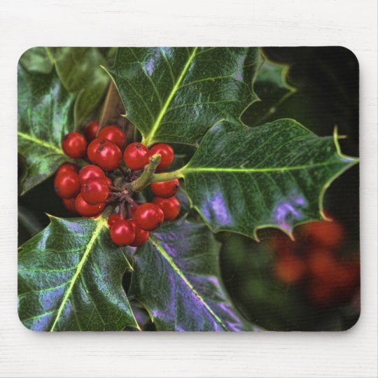 Holly Leaves and Berries Mouse Pad