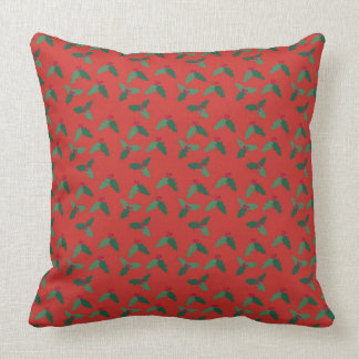 Holly Leaves and Berries on Christmas Red Pillow