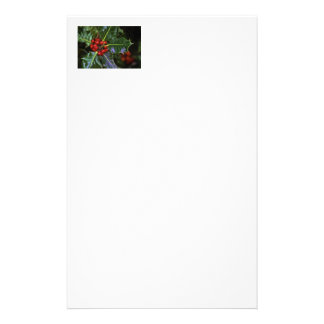 Holly Leaves and Berries Custom Stationery