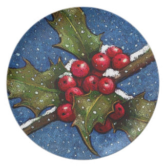 Holly Leaves and Berries With Snow Falling: Art Plate