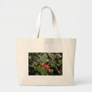 Holly leaves and red berries, Christmas Jumbo Tote Bag
