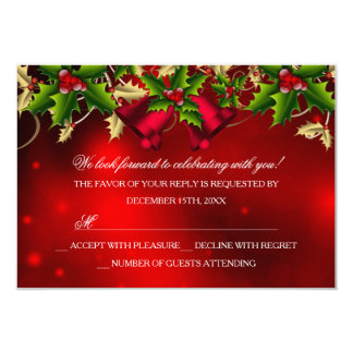 Holly Leaves & Bell Red Christmas Party RSVP Card