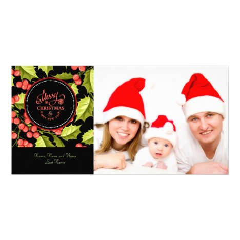 Holly Leaves & BerriesMerry Christmas Photo Card