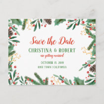 Holly Leaves Berry Christmas | Save The Date Announcement Postcard