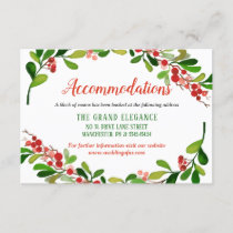 Holly Leaves Berry Christmas Wedding Accommodation Enclosure Card
