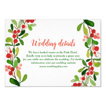 Holly Leaves Berry Christmas | Wedding Details Invitation