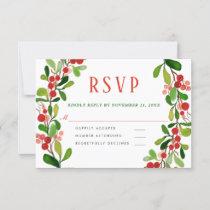 Holly Leaves Berry Christmas | Wedding RSVP