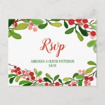 Holly Leaves Berry Christmas | Wedding RSVP Invitation Postcard