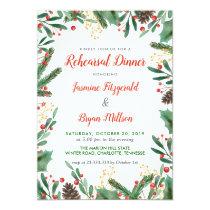 Holly Leaves Berry | Wedding Rehearsal Dinner Invitation