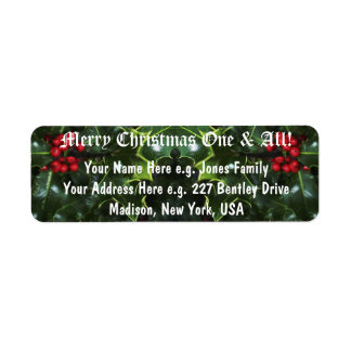 Holly Leaves CHRISTMAS Return Address Labels