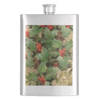 Holly Leaves Christmas Vintage Art Print Winter Flask