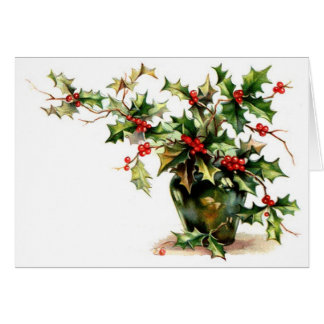 Holly Leaves Greeting/Note Card