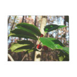 Holly Leaves I Holiday Christmas Nature Botanical Doormat
