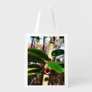 Holly Leaves I Holiday Christmas Nature Botanical Grocery Bag