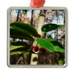 Holly Leaves I Holiday Christmas Nature Botanical Metal Ornament