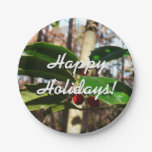 Holly Leaves I Holiday Christmas Nature Botanical Paper Plate
