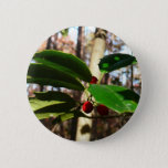 Holly Leaves I Holiday Christmas Nature Botanical Pinback Button