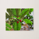 Holly Leaves II Holiday Nature Botanical Jigsaw Puzzle