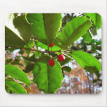 Holly Leaves II Holiday Nature Botanical Mouse Pad
