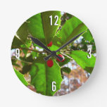 Holly Leaves II Holiday Nature Botanical Round Clock