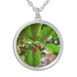 Holly Leaves II Holiday Nature Botanical Silver Plated Necklace