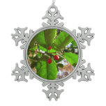 Holly Leaves II Holiday Nature Botanical Snowflake Pewter Christmas Ornament