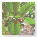 Holly Leaves II Holiday Nature Botanical Stone Coaster