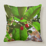 Holly Leaves II Holiday Nature Botanical Throw Pillow