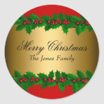 """Holly Leaves Merry Christmas Holiday Sticker<br><div class=""""desc"""">Faux Gold Christmas Holiday Sticker. Elegant Holly Leaves design.</div>"""
