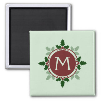 Holly Leaves Monogram Green Red Christmas Holidays 2 Inch Square Magnet