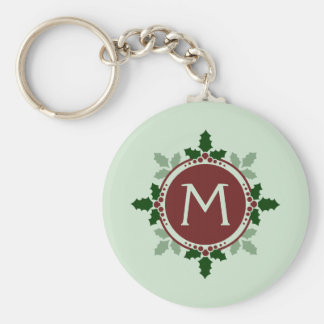 Holly Leaves Monogram Green Red Christmas Holidays Basic Round Button Keychain