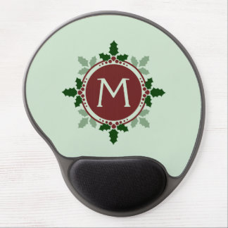 Holly Leaves Monogram Green Red Christmas Holidays Gel Mouse Mat