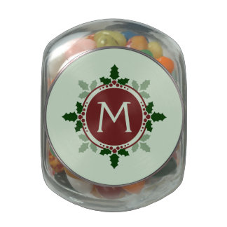 Holly Leaves Monogram Green Red Christmas Holidays Glass Candy Jar