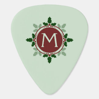 Holly Leaves Monogram Green Red Christmas Holidays Guitar Pick