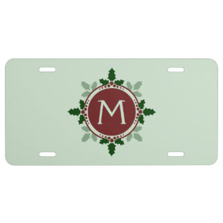 Holly Leaves Monogram Green Red Christmas Holidays License Plate