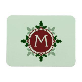 Holly Leaves Monogram Green Red Christmas Holidays Rectangular Photo Magnet