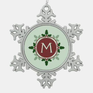 Holly Leaves Monogram Green Red Christmas Holidays Snowflake Pewter Christmas Ornament