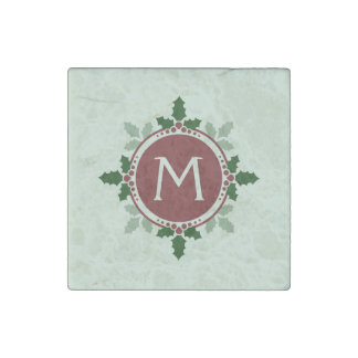 Holly Leaves Monogram Green Red Christmas Holidays Stone Magnet