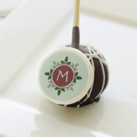 Holly Leaves Monogram Green Red Christmas Holidays Cake Pops