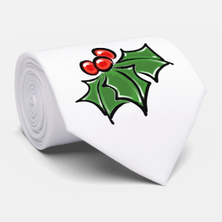 Holly leaves neck tie