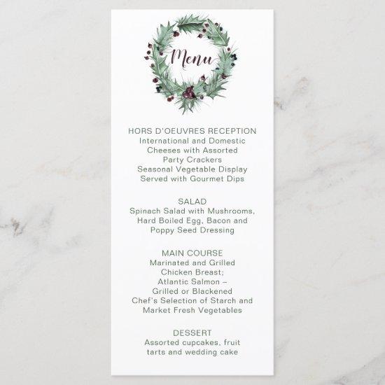 Holly Leaves, Pine, Berries Winter Wedding Menu