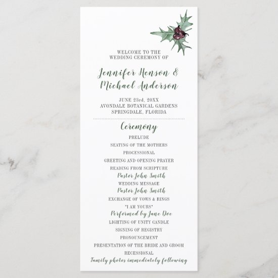 Holly Leaves Plum Berries Winter Wedding Program
