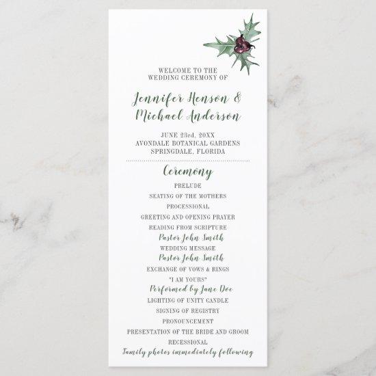 Holly Leaves Plum Berries Winter Wedding Program