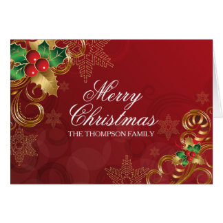 Holly Leaves Red Christmas Card