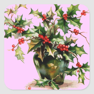 Holly Leaves Square Sticker